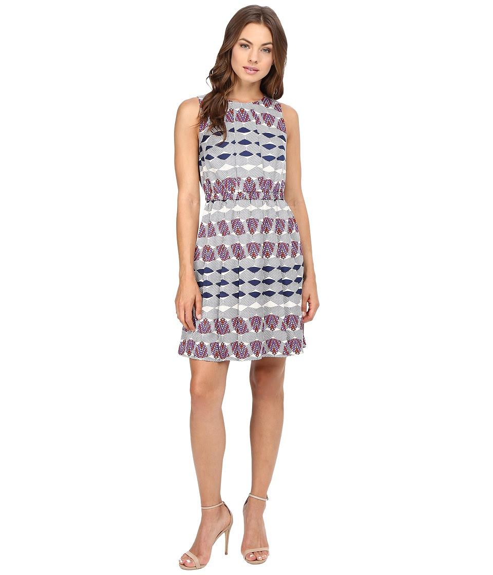 Donna Morgan - Poly Twill Elastic Waist Wide Pleat Dress (Navy Fashion Multi) Women's Dress