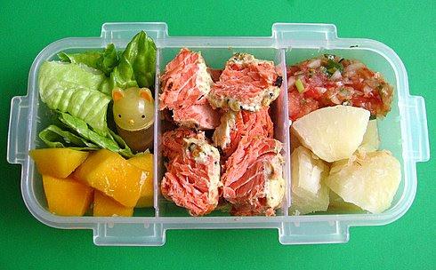 Wild salmon & yucca lunch for preschooler