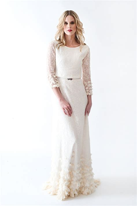 Lace Boho Vintage Wedding Dress With Sleeves Open By