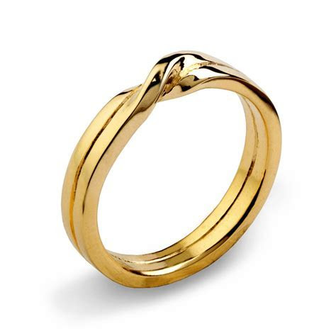 LOVE KNOT 14k Yellow Gold Wedding Band Unique Mens Wedding