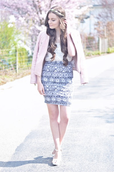 white H&M top - light pink Zara jacket - white Zara heels