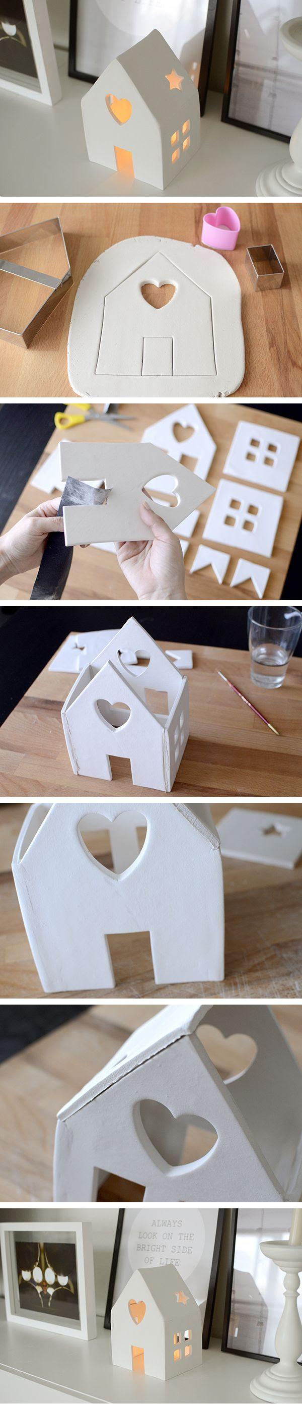 DIY: House candleholder with air dry clay - DIY: casita portavelas con pasta de modelar