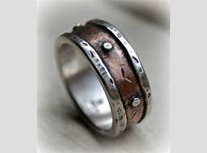 mens rustic wedding ring, rustic fine silver and copper or 14K rose gold ring with silver rivets