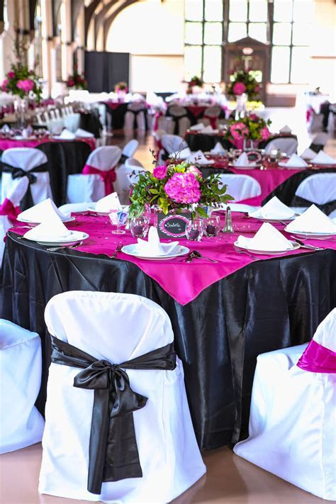 Pink and Black Wedding tablescapes   Weddings in 2019