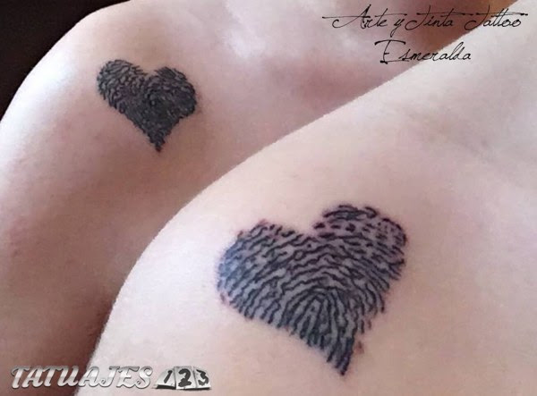 Corazones Huellas Dactilares Tatuajes 123