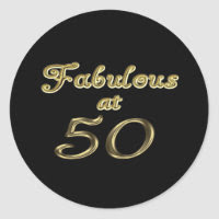 Fabulous at 50 Classic Round Sticker