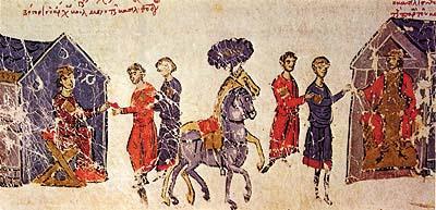 Le prince Boris I envoie des emissaires a l'empereur byzantin