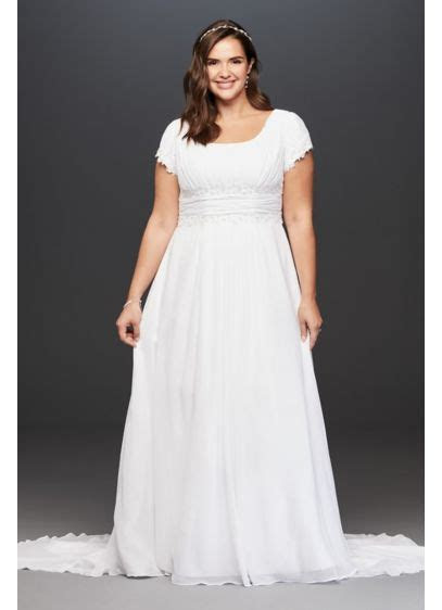 Short Sleeve Plus Size Wedding Dress with Ruching   David