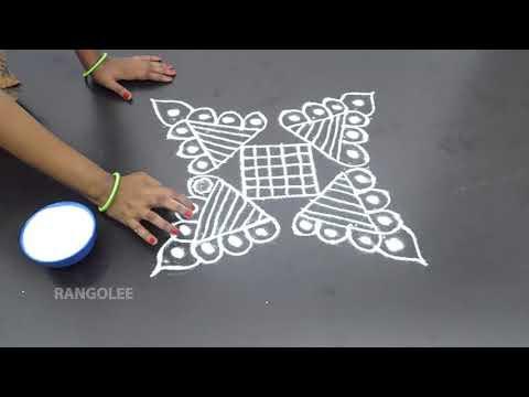 Simple Rangoli Designs With 5x3 Dots New Kolam Designs