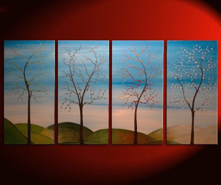 60x30 Large CUSTOM Tree Painting Four Seasons Blossom Original Art Spring Fall Summer Winter