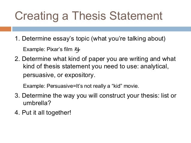 write a thesis statement for an essay