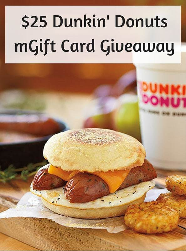 $25 Dunkin' Donuts mGift Card Giveaway. Ends 1/14