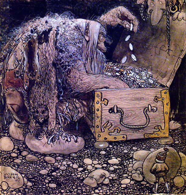 "John Bauer - ""On the middle of the floor there was an open treasure chest and with two horrible trolls sitting"" 1909"