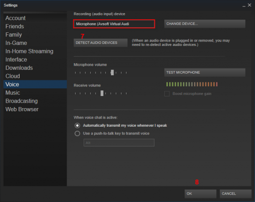 audio setting of steam 2