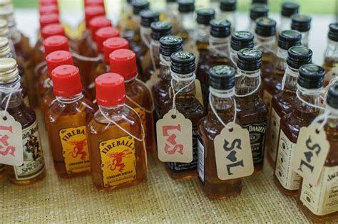 wedding favors // mini bottles with DIY stamped price tags