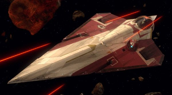 A Delta-7 starfighter...also known as the Jedi Starfighter.