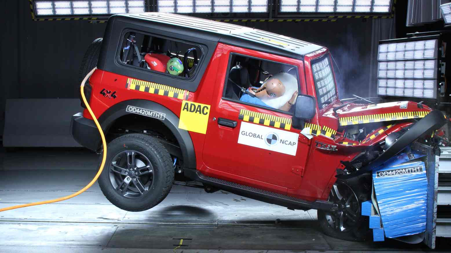 The second-gen Mahindra Thar currently holds the highest score for child occupant protection of all models tested by Global NCAP so far. Image: Global NCAP
