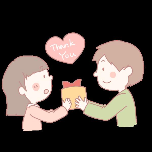 女の子にプレゼントを渡す男の子のイラスト かわいいフリー素材が無料のイラストレイン