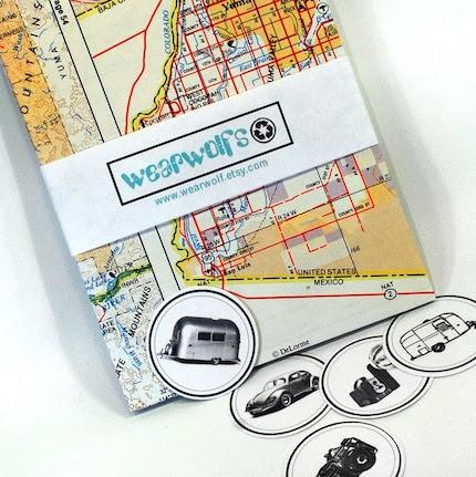 Set of Five Handmade Envelopes From Vintage Maps