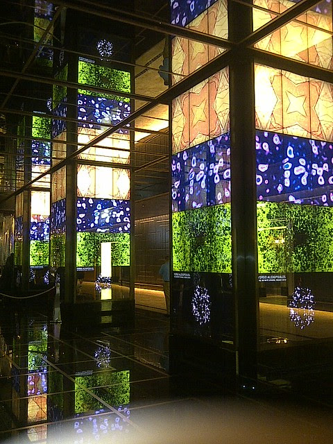 Light walls in the lobby of the Cosmopolitan