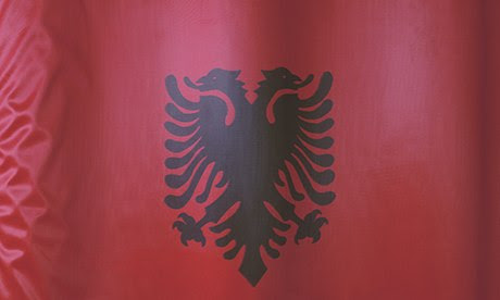 The flag of Albania … very New Labour.