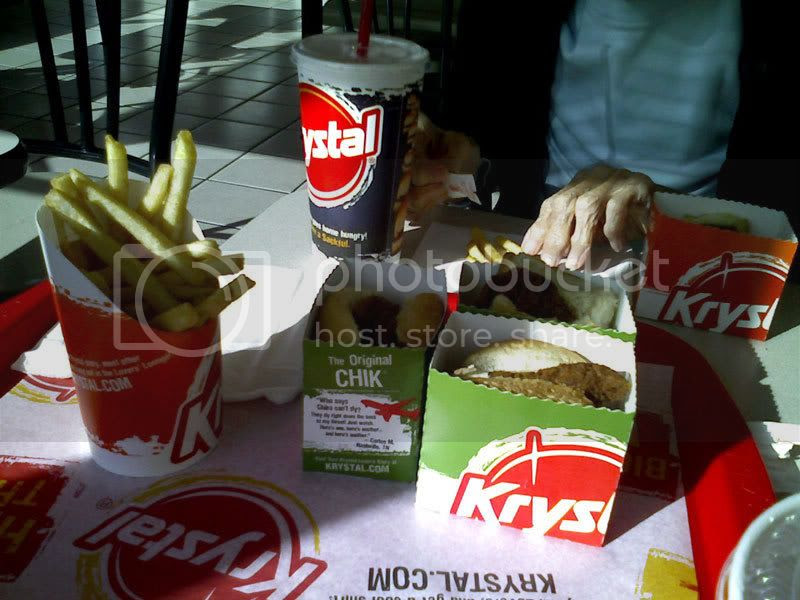 Krystal Chiks, Fries, Sodas, and Old Lady Hands...