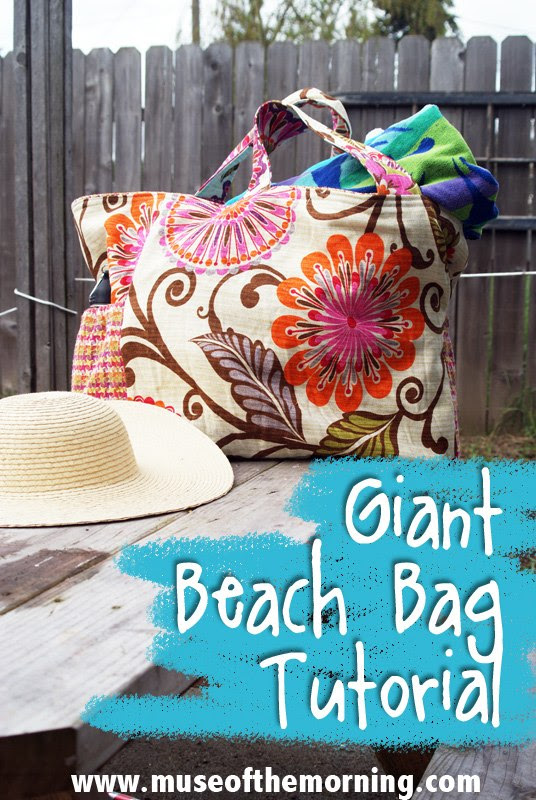 Giant Beach Bag Tutorial from Muse of the Morning