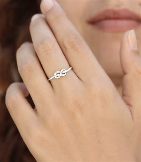 Petite Infinity Ring, Diamond Wedding Band, Solid Gold