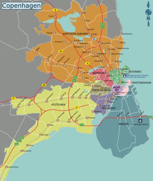Карта Копенгагена и ближних районов