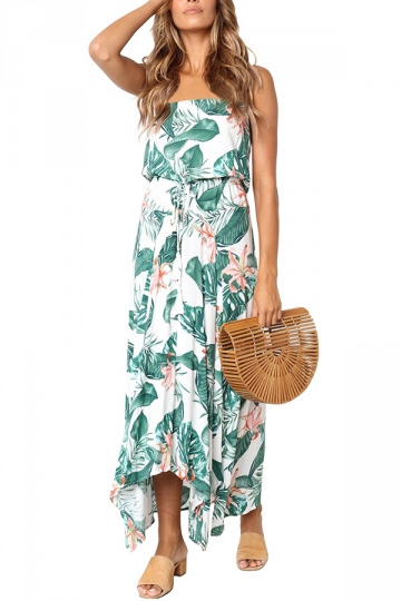 Strapless Waist Tie Floral Print Vocation Tube Maxi Dress White