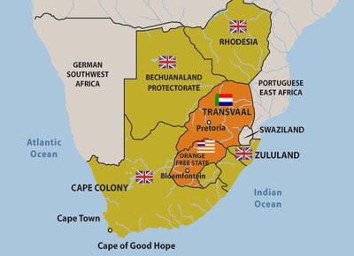 Boer War Maps: Mapa d'Àfrica del Sud que mostra les colònies britàniques i les repúbliques Boer - 2.a.2.1 cgr5