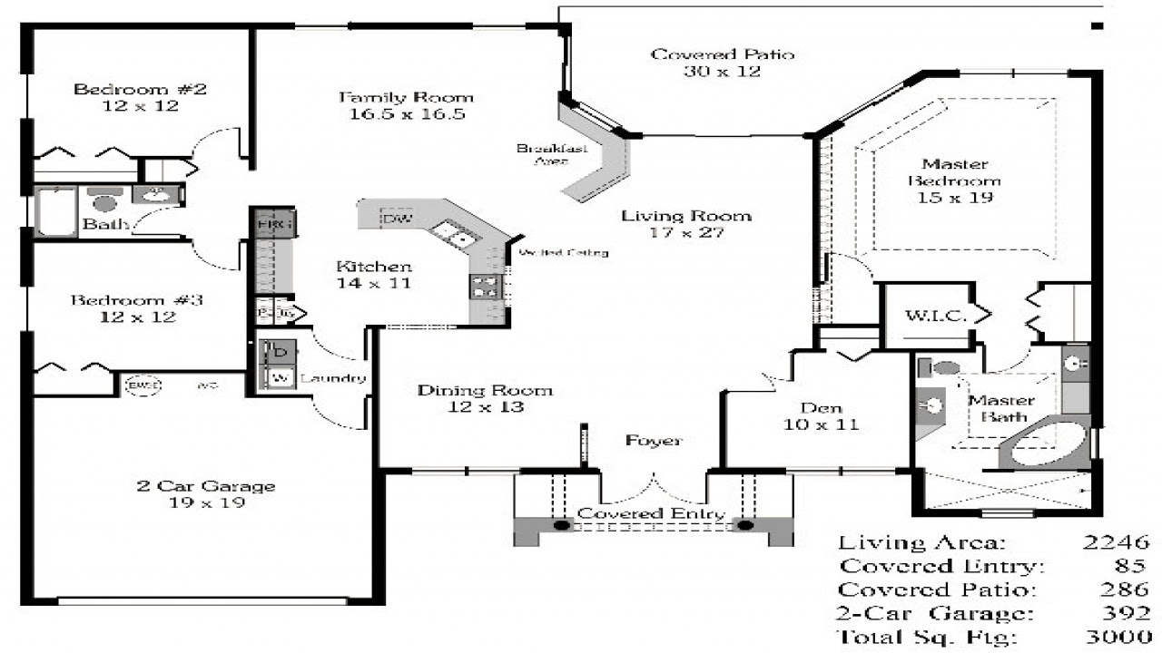 4 Bedroom House Plans Open Floor Plan 4-Bedroom Open House ...