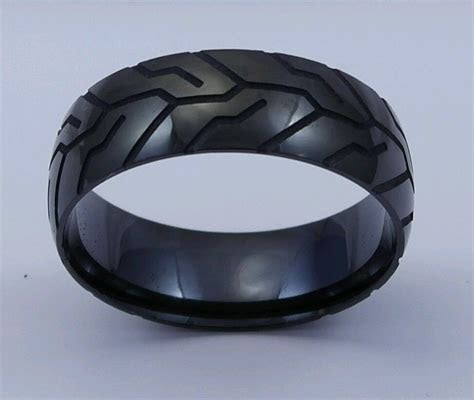 Details about Tire Tread Pattern Black IP Stainless Steel