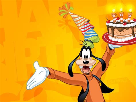 goofy celebrate happy birthday disney wallpaper