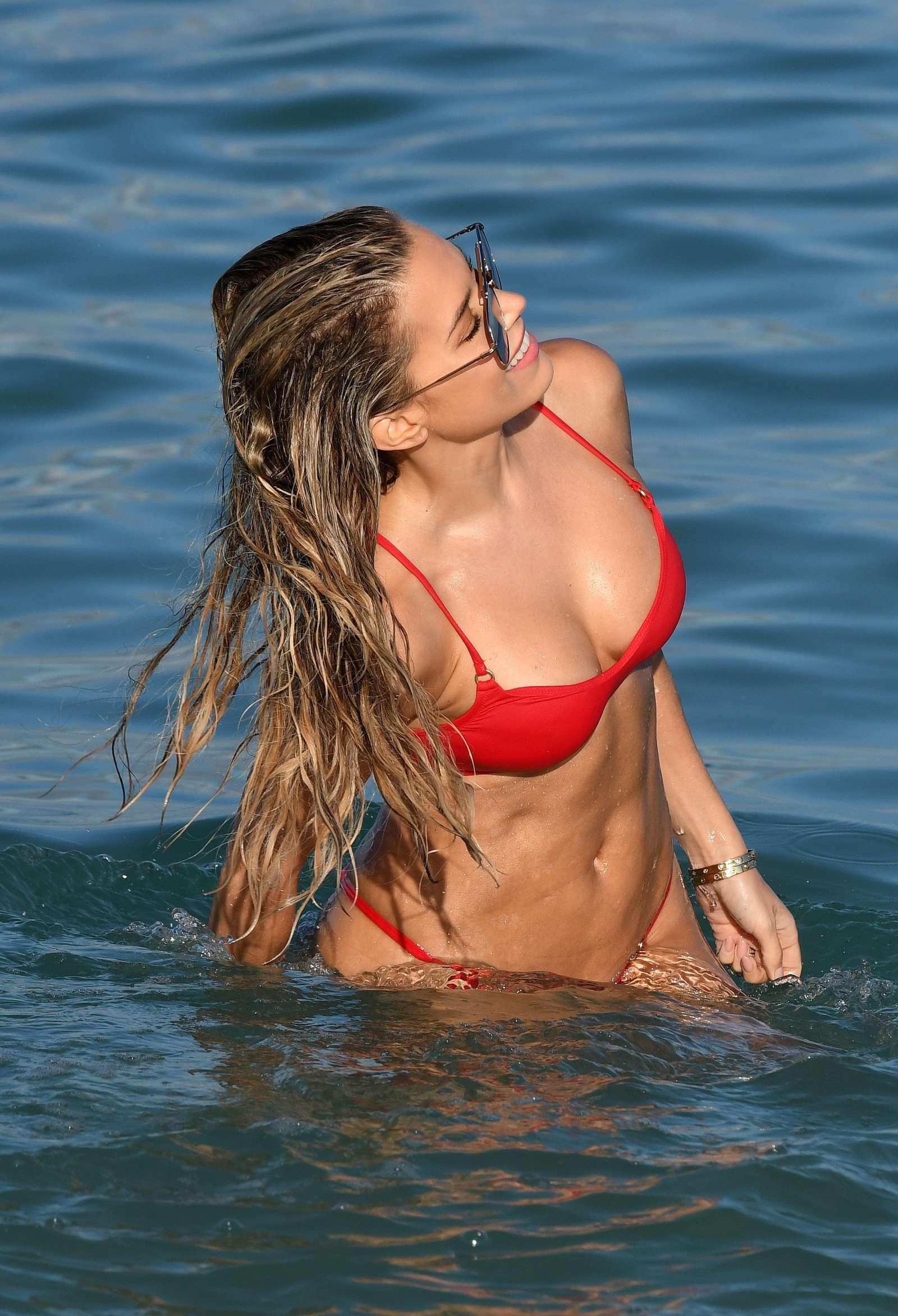 Sylvie Meis in Red Bikini on the beach in Miami