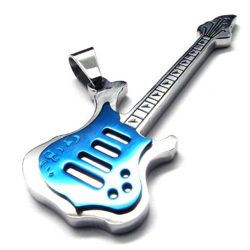 "BLUE HEAVEN!! 18"" KONOV Jewelry Polished Stainless Steel Guitar Pendant Mens Womens Necklace, Blue, 18 inch Chain: KONOV Jewelry: Jewelry"