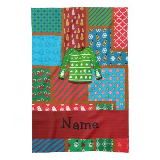 Custom name green ugly christmas sweater hand towels