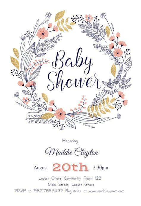 Friendship Wreath   Baby Shower Invitation Template (Free