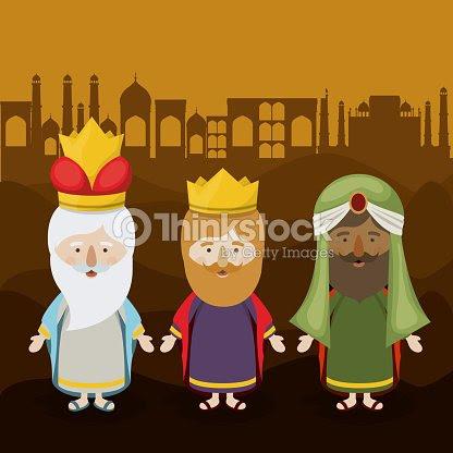 El Diseño De Dibujos Animados De Tres Reyes Magos Arte Vectorial