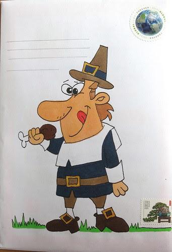 Pilgrim with a turkey leg.....