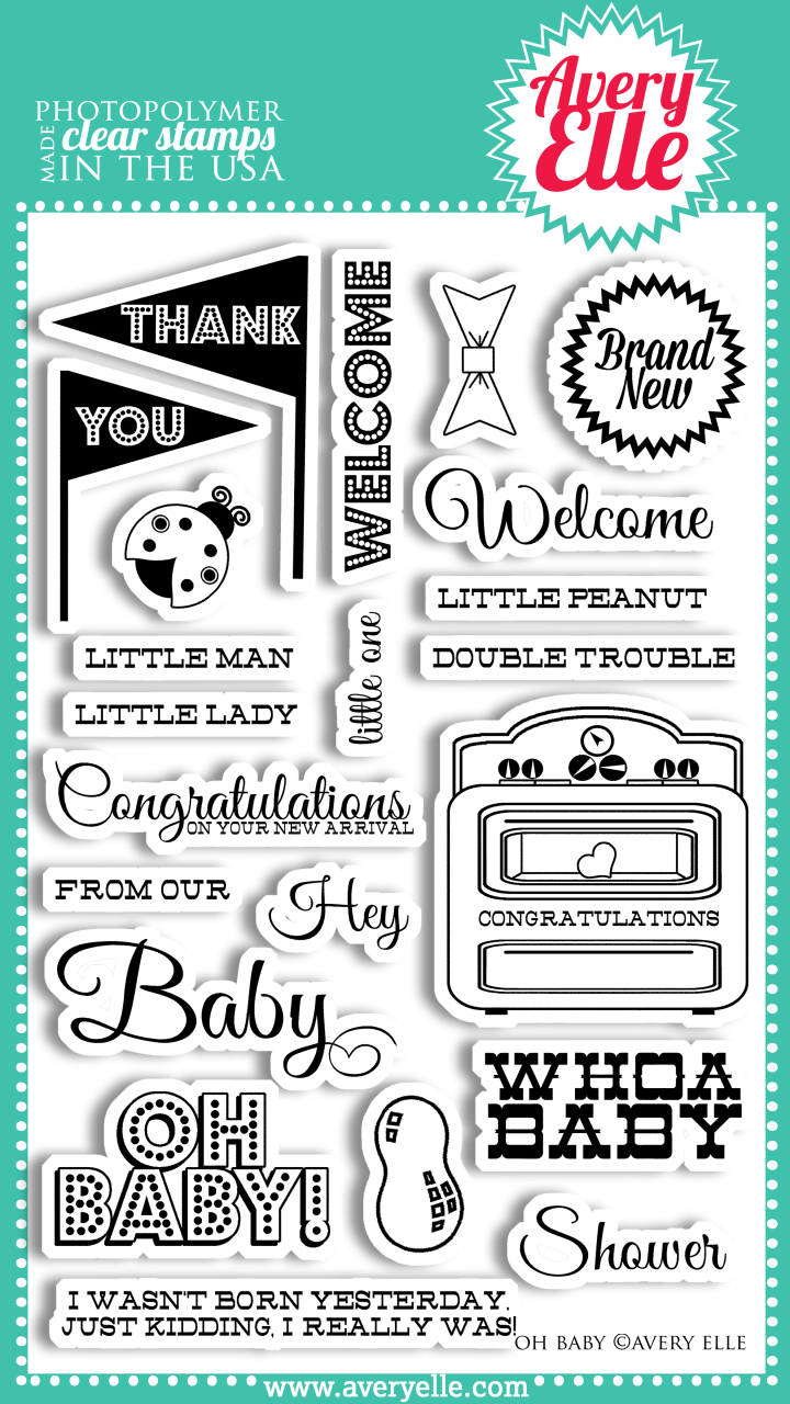 """Our Oh Baby 4"""" x 6"""" clear photopolymer stamp set is perfect for creating the perfect baby shower project, baby thank you notes or offering your congratulations to a new mother.  The classic sentiments in this set are sure to be used time and again for little boys, girls or twins."""