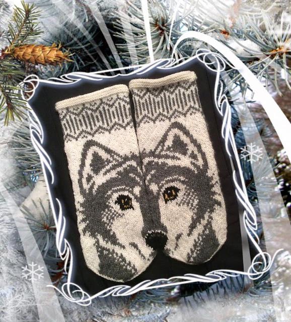 Mitaines tricotées de loup Wolfie mittens par JennyPenny