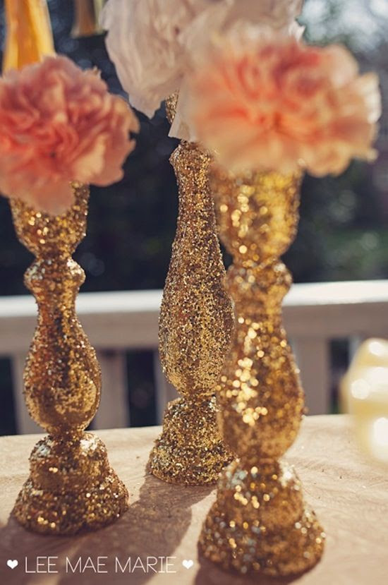 Decorating vases with glitter or rhinestones or paper/glue could be way cheaper then buying them all and you get to be unique   #gold wedding reception ... Wedding ideas for brides, grooms, parents & planners ... https://itunes.apple.com/us/app/the-gold-wedding-planner/id498112599?ls=1=8 … plus how to organise an entire wedding ♥ The Gold Wedding Planner iPhone App ♥