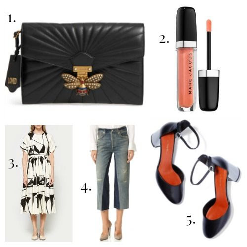 Gucci Clutch - Marc Jacobs Beauty Gloss - Black Crane Dress - Citizens of Humanity Jeans - 3.1 Phillip Lim Shoes