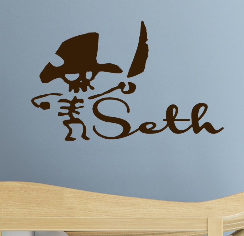 Pirate wall decor Decal Kids name Monogram vinyl by HouseHoldWords