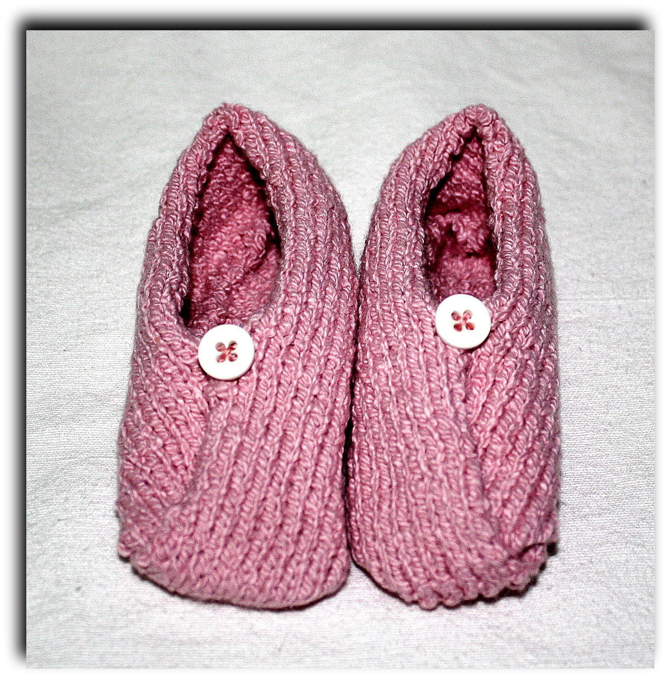 Valentine's Baby Kimono Slipper Booties -  9 to 15 months infant, pink stretch cotton with button