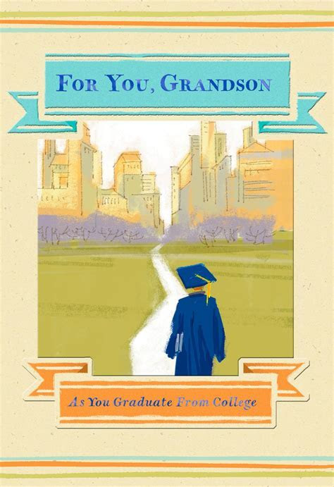 Cityscape College Graduation Card for Grandson   Greeting