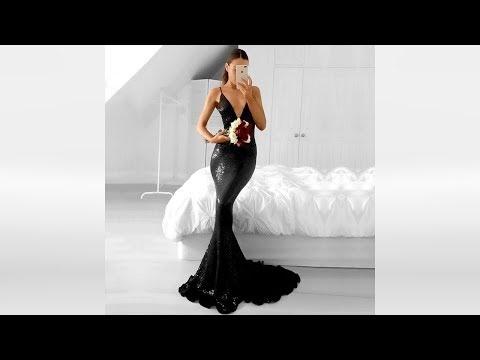 Long Trumpet/Mermaid V-neck Sequined Black Prom Dresses - Millybridal.org