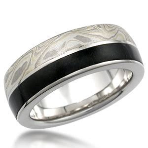 Mokume Jade Side Inlay Wedding Band