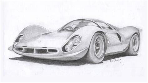 classic race car car pencil art drawings